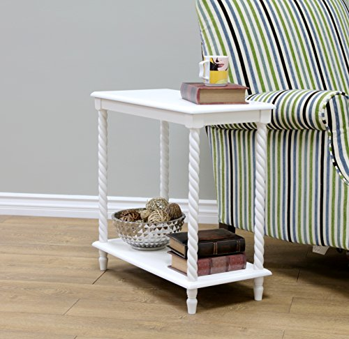 Frenchi Home Furnishing Chair Side Table/2 Tier Shelves, (Scalloped Side Table)