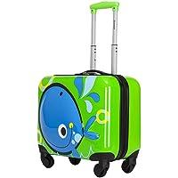 Kroeus Hardside 18 inch Cute Whale Lightweight Kids Luggage Gift For Kids Green