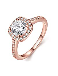 Jewelry Rarity Women's fashion 18K Rose Gold White Gold Plated Engagement Rings Best Promise Rings Anniversary Wedding Jewelry Rings Diamond Ring (Size 5 6 7 8 9)