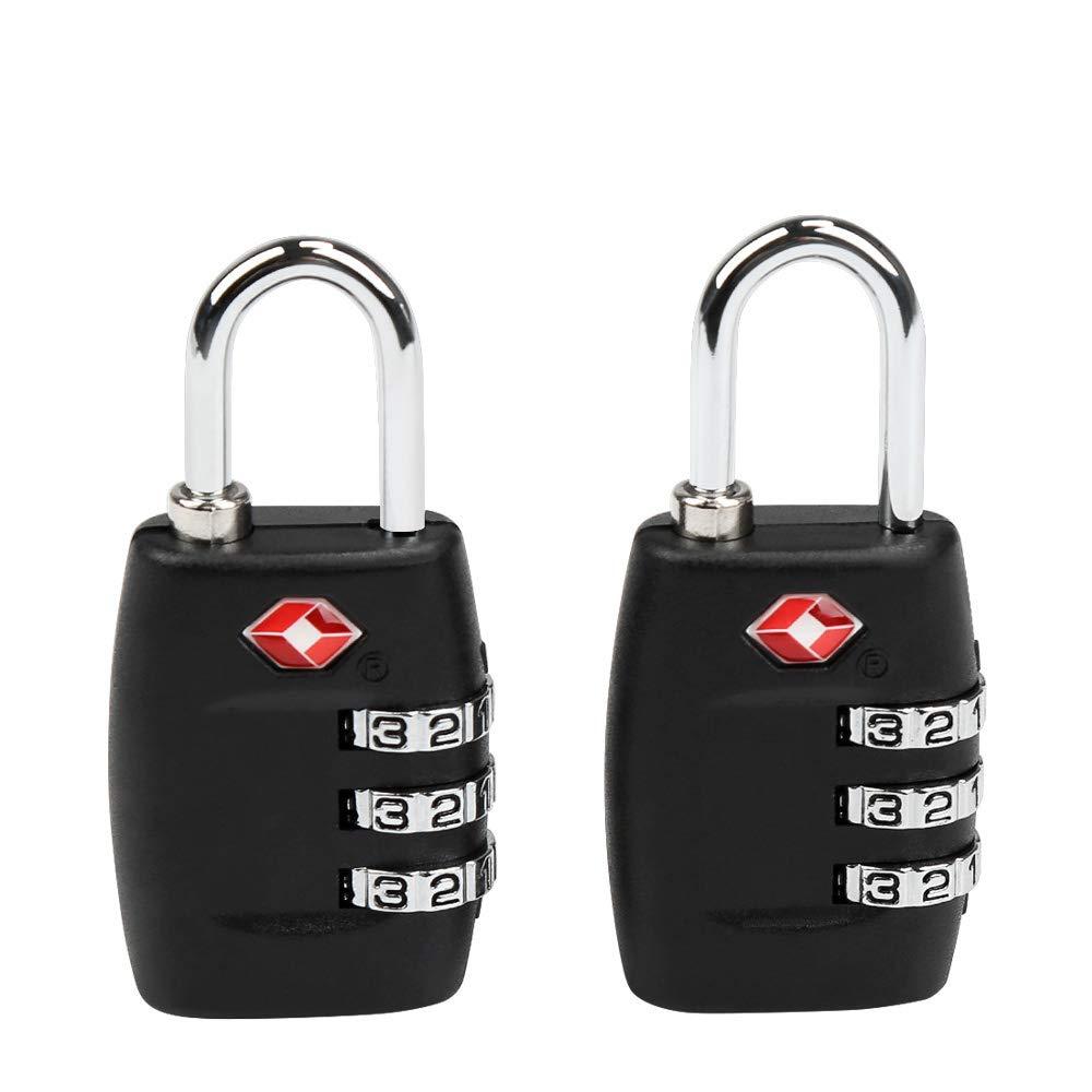TSA Luggage Locks, Ballery 2 Pack TSA Security Travel Luggage Locks for Travel Suitcases Luggage Bag School Gym Lockers Filing (Black)