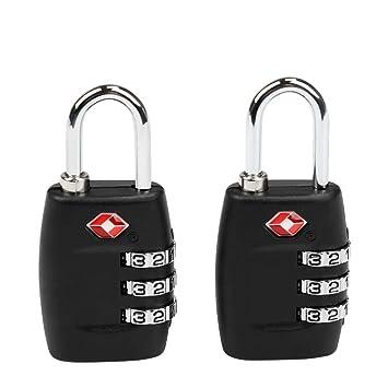 TSA Equipaje Locks, Ballery 2 x Candado TSA Equipaje de Seguridad Combinación De 3 Dígitos para Maleta De Viaje, Bolsa De Viaje, Cerraduras De Equipaje: ...