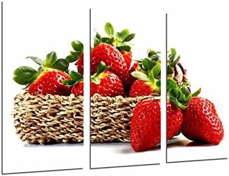 Cuadro Fotográfico Cocina, Comestibles Fruteria, Frutas Fresas Sobre Blanco Tamaño total: 97 x 62 cm XXL: Amazon.es: Hogar