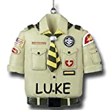 Personalized Boy Scouts of America Tan Shirt Uniform Christmas Ornament with Name
