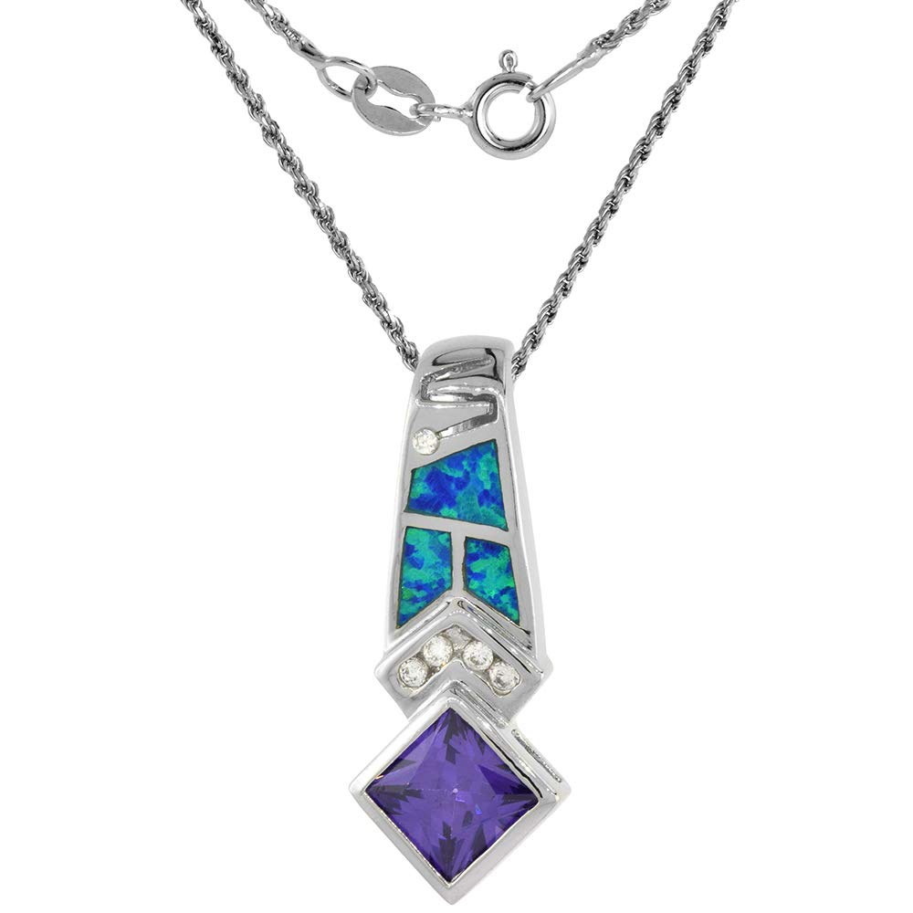 Sterling Silver Synthetic Opal Necklace for Women Amethyst CZ 9 mm Square 1 3//8 inch