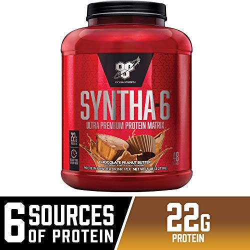 BSN SYNTHA-6 Whey Protein Powder, Micellar Casein, Milk Protein Isolate, Chocolate Peanut Butter, 48 Servings (Packaging May ()