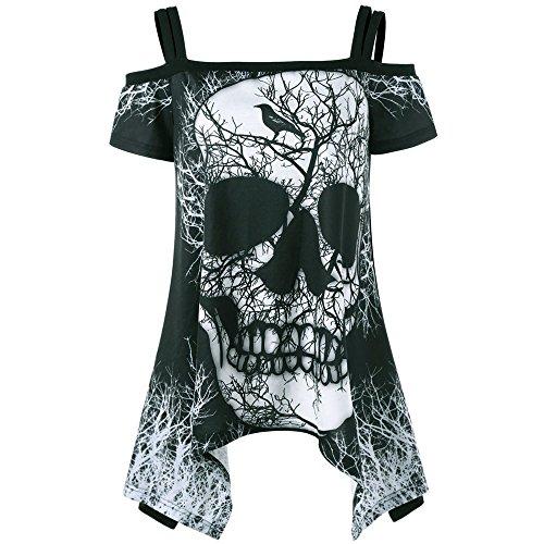 HGWXX7 Women Off Shoulder Skull Print Short Sleeve Irregular T-Shirt Top Blouse (M, Black)