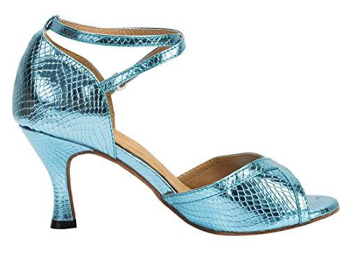 Tda Womens Gesp Strappy Slangenhuid Synthetische Salsa Tango Ballroom Latin Moderne Dans Trouwschoenen 7,5 Cm Hak Blauw