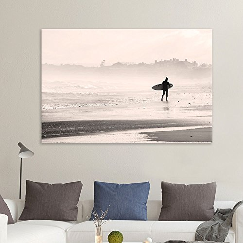 wall26 - Canvas Wall Art Sports Theme - Man Walking Down The Beach a Surfing Board Under His Arms - Giclee Print Gallery Wrap Modern Home Decor Ready to Hang - 12x18 inches