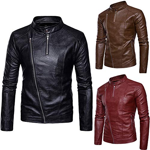 Coat Jacket Men's Men Wild Coat Imitation Slanted Zipper Coat Collar Stand Leather Casual Zipper Fashion Tomatoa Black Leather wXFqtxEZUX