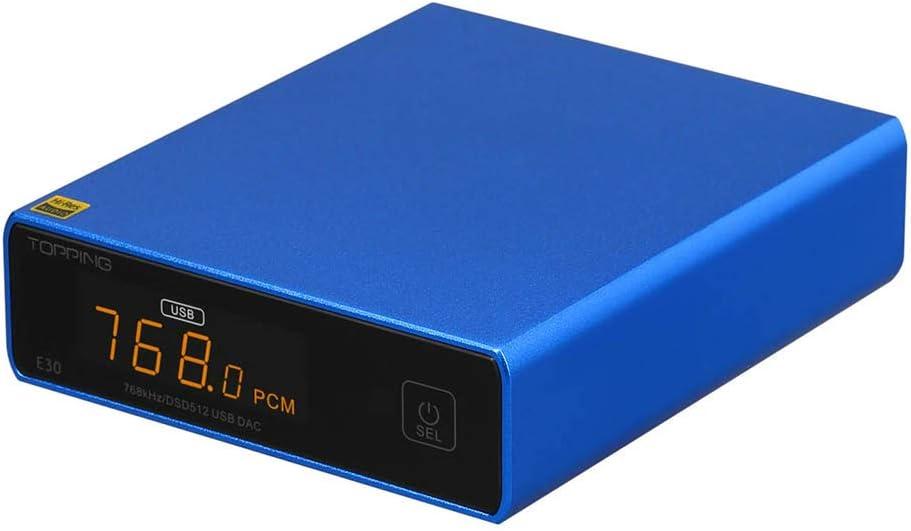 TOPPING E30 Hi-Res DAC AK4493 32Bit/768kHz DSD512 HiFi XMOS XU208 Stereo Digital Audio Decoder (Blue)