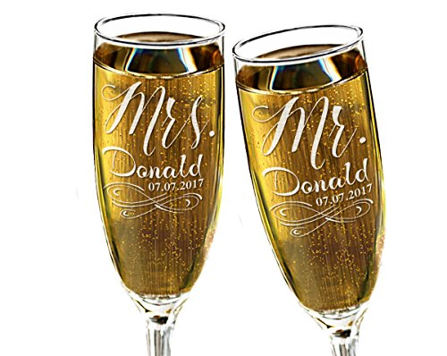 (Infinity Mr Mrs Champagne Wedding Glasses Favors Laser Engraved Personalized Couples Gift Set of 2 Newlyweds Bridal Shower Gift for Bride)