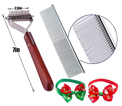 Pet Undercoat Rake-Dematting Comb Grooming Brush Tool for Dogs & Cats Safe Stripper Brush Stainless Steel with Wooden Handle,Great Decoding Tool Shedding Hair Fur Stripping Comb