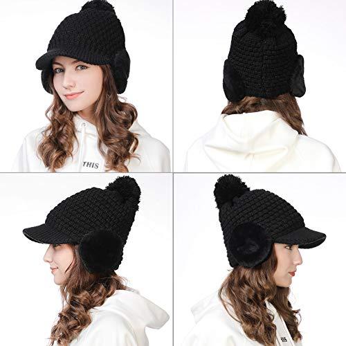 9c922c286eb SIGGI Womens Knit Newsboy Cap Warm Lined Winter Hat 100% Soft Acrylic with  Visor