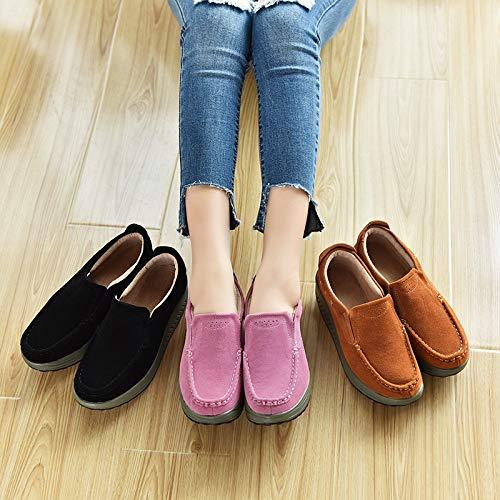 EU Piel Marrón de Suave Color Rocker Marrón Sole de Zapatos tamaño 40 Mujer Mocasines Casaul Qiusa FHPwOEnx