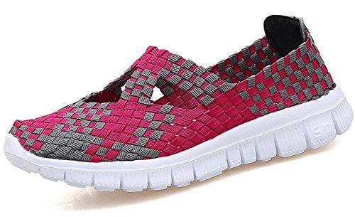 Muchos Caminar Ligero zapatilla deslizamiento tejidos 2 Jane tamaño la Fitness en deporte Entrenadores 5 elástica GFONE zapatos Tamaño Casual Fuschia 7 plano Sandalia Damas de 4n8Ota