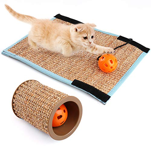 Natural Sisal Cat Scratching Post, Set of 2 ( Sisal Scratching Post and Cat Scratcher Mat), Hollow Cat Sisal Scratching Post with Sound Bell Ball Toys for Claw Furniture Protecting