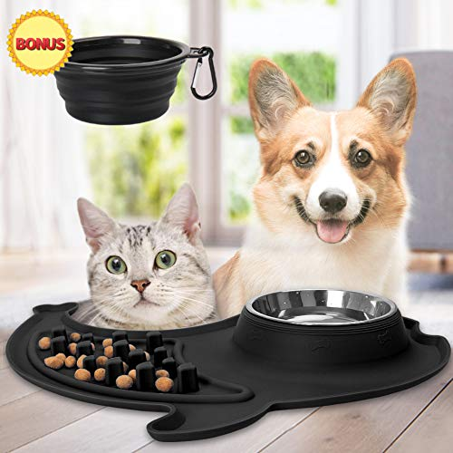 LEEFE Slow Feeder Dog Bowl Set with Water Bowl, 2 in 1 Stainless Steel Dog Bowls and Water Bowl Non-Skid Non-Toxic Healthy Design Bowl for Small Dogs, Puppy and Cats (Black)