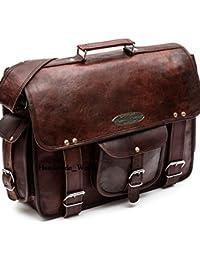 "leather messenger bags for men women 18"" mens briefcase laptop bag best computer shoulder satchel school distressed bag (13"" X 18"")"