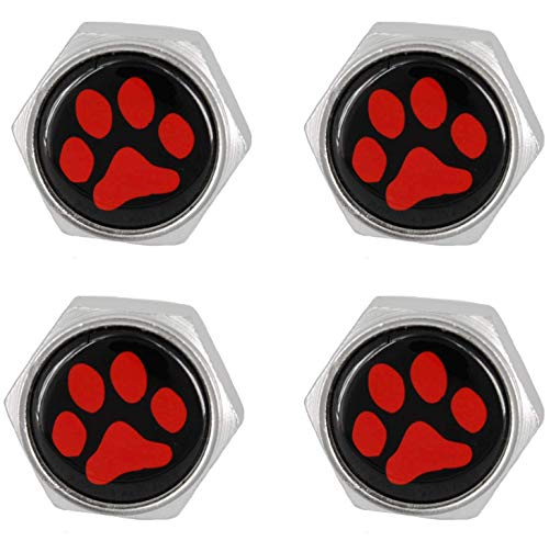 Cutequeen License Plate Frame Bolts Screws Metal(Pack of 4) (Slivery, Red Paw Print Black Base) (Bolts License Plate Cutequeen)