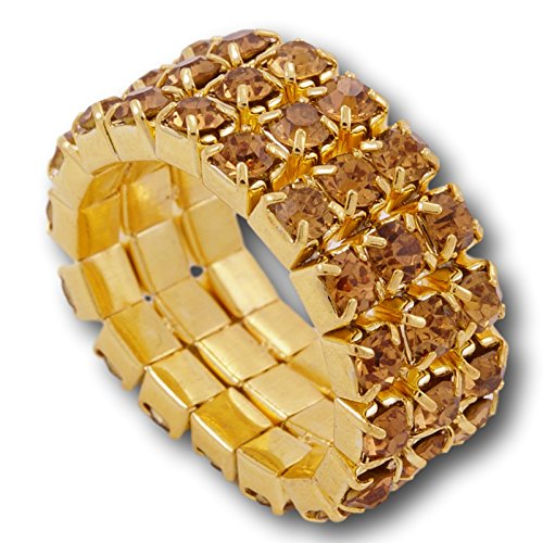 Pashal Three Row Multi Stone Adjustable Stretch Scallop Setting Stretch Elastic Cocktail Ring (Gold - Amber) ()