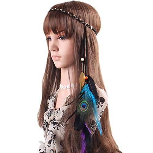 Fascinator Feather Headband Bohemian Tassels Headwear for Women Girls