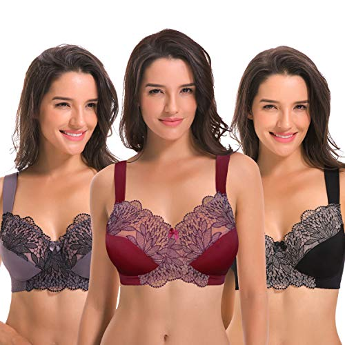 - Curve Muse Plus Size Unlined Minimizer Wire Free Bra with Embroidery Lace-3Pack-GREY-BURGUNDY-BLACK-48C