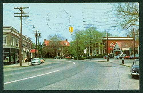 Fairfield Center 1960s Downtown Street View Bank Library Connecticut Vintage ()