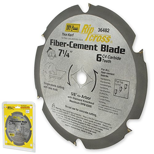 IVY Classic 36482 7-1/4-Inch 6 Tooth Fiber-Cement Cutting Carbide Circular Saw Blade with 5/8-Inch Diamond Knockout Arbor, 1/Card (Durock Cement Board)