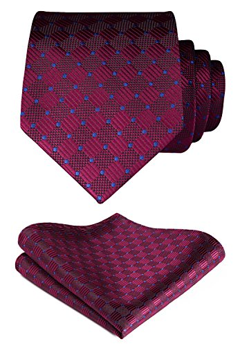 (HISDERN Plaid Tie Handkerchief Woven Classic Stripe Men's Necktie & Pocket Square Set (Burgundy &)