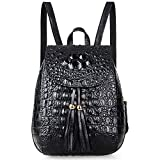 Pijushi Womens Mini Leather Backpack Crocodile Handbag Purses Holiday Gift (B66810 Black)
