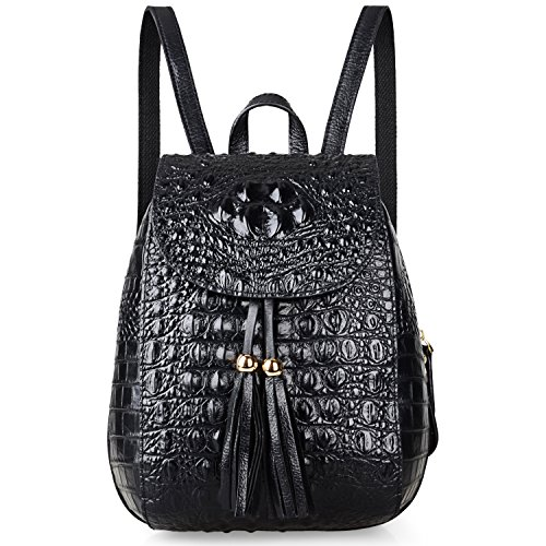 Pijushi Womens Mini Leather Backpack Crocodile Handbag Purses Holiday Gift (B66810 Black) by PIJUSHI