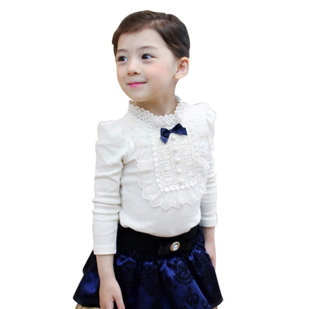 GObabyGO Elegant Baby Kids Girls Bowknot Cotton Lace Long Sleeve Shirt Toddler Blouse Tops