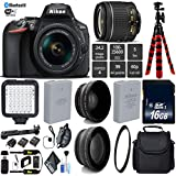 Nikon D5600 DSLR Wi-FI NFC 24.2MP DX CMOS Camera AF-P 18-55mm VR Lens + LED Light kit + UV Protection Lens Filter + 12 inch Flexible Tripod + Camera Case - International Version