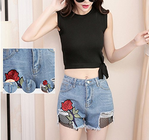 Holes le Huateng Summer Shorts donne Lady Jeans per ricamati 7 qFtOS