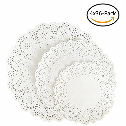 144-Pack White Round Lace Paper Doilies Cake Packaging Paper Pad and Box Liner DIY Doily Banners Wedding Tableware Decoration 10.5 Inch 8.5 Inch and 6.5 Inch by Kachabros White Round Cake Platter