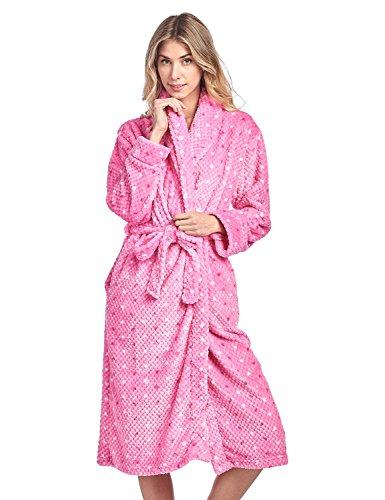 Casual Nights Women's Dot Long Sleeve Mini Popcorn Fleece Plush Robe - Pink - Small