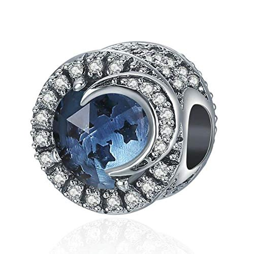 Blue Moon Sterling Silver Beads - C&L Ocean Radiant Heart Charms Bead Birthstone Crystal Charm Christmas European Charm Fit for Pandora's Charm Bracelet &Necklace (Blue Star Moon Beads)