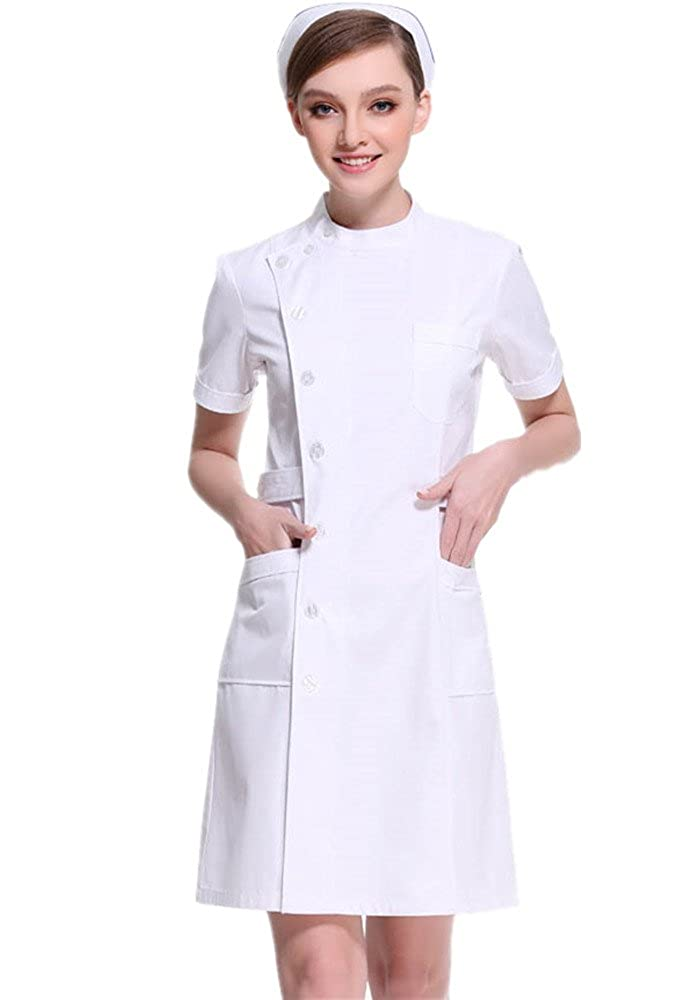 XinAndy Women's White Scrubs Slanting Front Lab Coat Short Sleeves