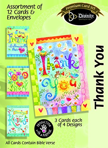 Whimsical Words Thank You 5 x 7 Inch Set of 12 Greeting Cards Assortment with - Mall University Card Gift