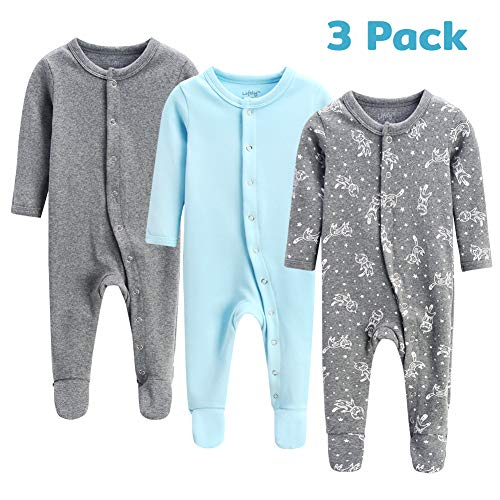 lifely 3Pack Baby Pajamas Footed Baby Boy Girl Pajamas Cotton Infant Sleeper Footie 0-3 Months Romper Overall Baby Pajama Set Long Sleeve with Sleeve Cuff ()
