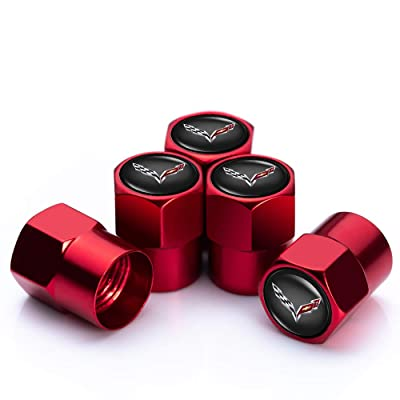 PATWAY 5 Pcs Metal Car Wheel Tire Valve Stem Caps for Chevrolet Corvette Logo Styling Decoration Accessories.: Automotive