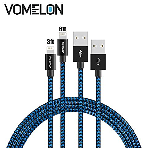 Lightning Cable, 2Pack [3FT+6FT] Tangle-Free Nylon Braided Extra Long USB Cord Compatible with Apple iPhone 7/7 Plus iPhone 6S/6 Plus, 5S/5/SE, iPad, Touch 5/6 iPod Nano 7 -Blue+Black