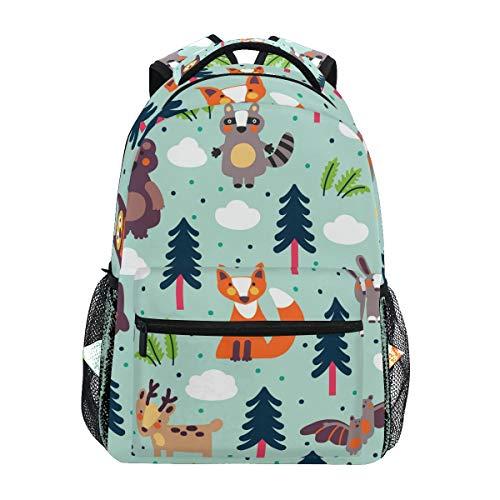 TropicalLife Funny Animal Bear Deer Hedgehog Fox Backpacks School Bookbag Shoulder Backpack Hiking Travel Daypack Casual Bags