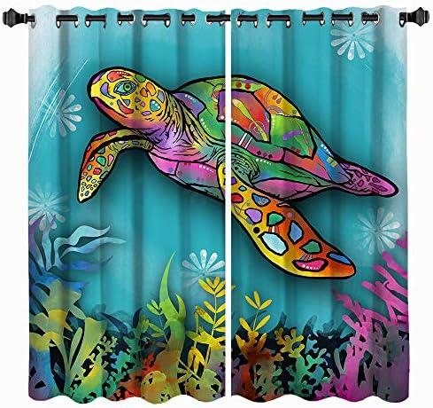 VividHome Window Treatment Set Sea Turtle Ocean Animal Landscape Print Blackout Window Curtains 2 Drape Panels Curtains