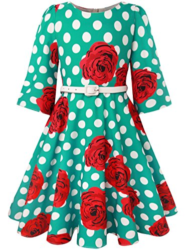 Bonny Billy Teen Girls Classy Vintage Rose Twirly Kids Clothes with Belt 8-9 Years Green -