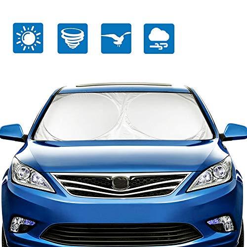 mixigoo Windshield Sun Shade - Blocks UV Rays Sun Visor Protector, Car Sun Shade Foldable Sunshade for Car SUV Trucks Minivans, Keep Your Vehicle Cool (59 x 27.5) (Gray)