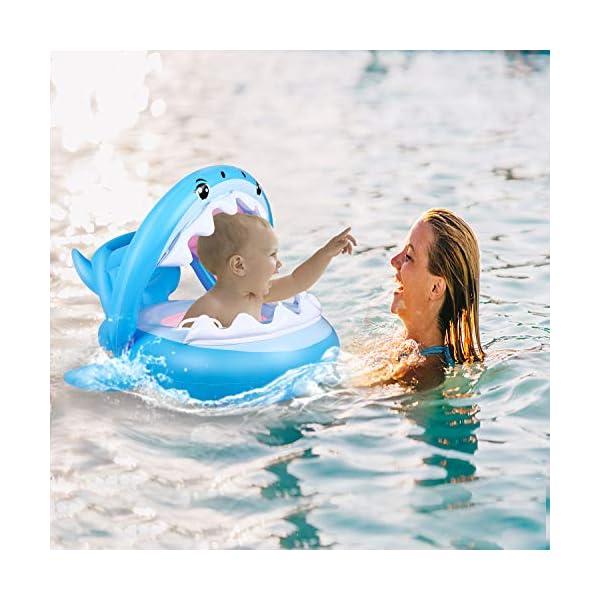 Flyboo Piscina Salvagente per Bambini Squalo Cavalcabile Gonfiabile con Tettuccio Mare Gonfiabile Ciambella per età 6-36… 7 spesavip