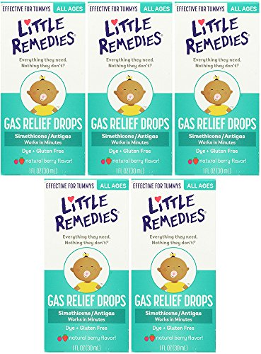 Little Remedies Tummy XCgZa Relief Drops, Natural Berry Flavor, 1 Ounce (5 Pack) by Little Remedies