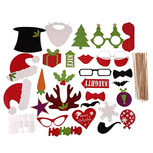 Diy Scarecrow Costume Hat (Toonol DIY Christmas Halloween Decoration Supplies Photo Booth Props Mustache Glasses On A Stick Wedding Birthday Party Gift,28pcs)