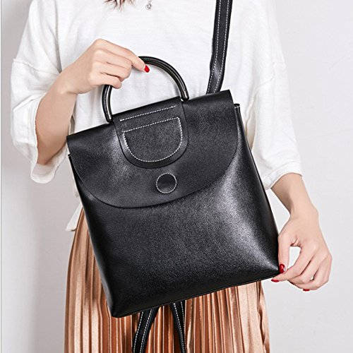 en cuir en New mode de à 2018 à Wax bandoulière Oil Leather Real Sac cuir dos noir sauvage Sac px4qZxAfw